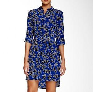 DVF Prita Blue Stars Button Down Shirt Dress